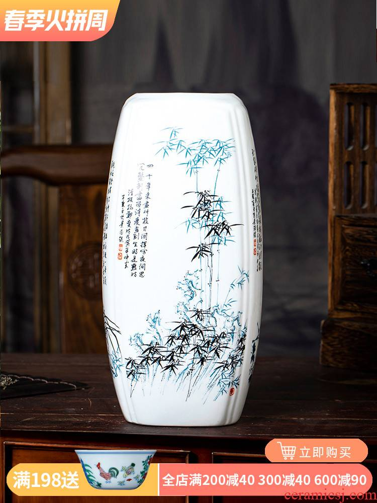 Jingdezhen ceramics lucky bamboo vases, flower arranging Chinese style household adornment of the sitting room TV ark place Chinese wind