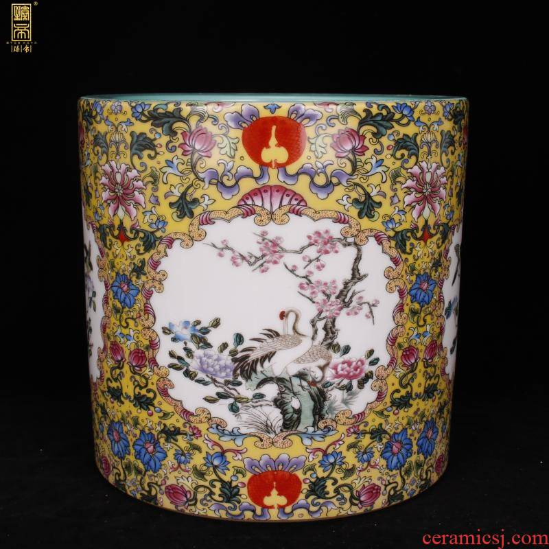 "Jingdezhen imitation antique porcelain enamel color big brush pot ""four desk pen sea Chinese style household company office furnishing articles"