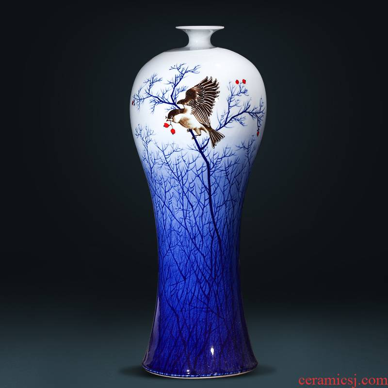 Jingdezhen ceramics antique hand - made of blue and white porcelain vases, flower arrangement of new Chinese style wine rich ancient frame ornaments furnishing articles