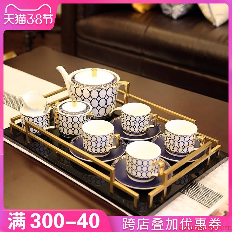 European ceramic coffee set suit American example room furnishing articles afternoon tea tea table with a desktop decoration gift box