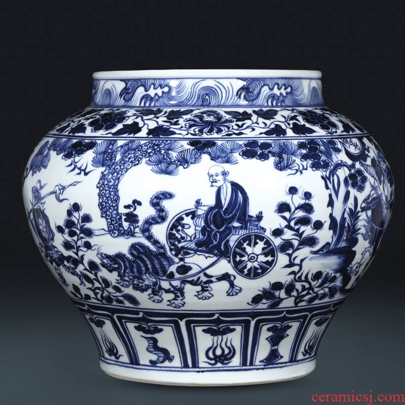 Valley of jingdezhen ceramics imitation of yuan blue and white devil down big pot vase do old vintage sitting room adornment is placed