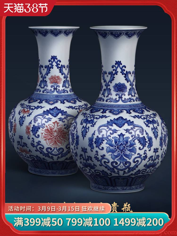 Jingdezhen ceramics vase hand - made archaize large sitting room of Chinese style household flower arrangement of blue and white porcelain decoration furnishing articles
