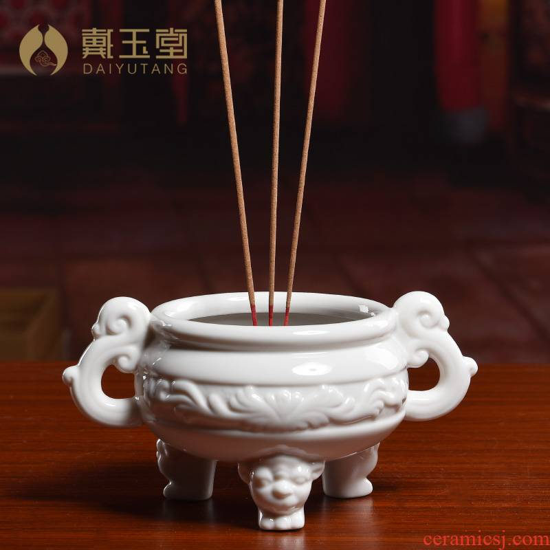 Yutang dai ceramic household indoor for Buddha incense large antique incense buner consecrate Buddha/relief tripod censer