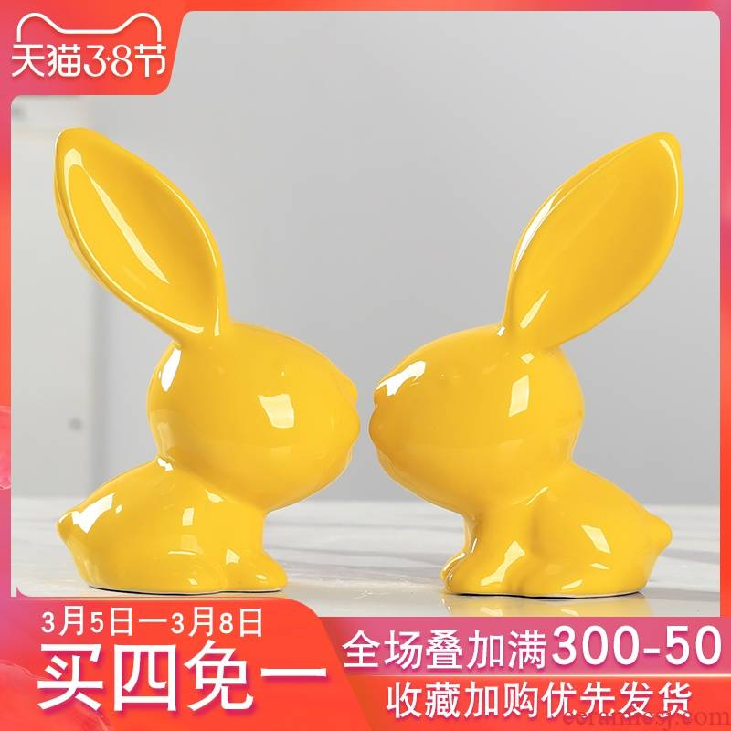 I household ceramic furnishing articles furnishing articles creative desktop TV ark adornment of the sitting room of rabbit room small ornament
