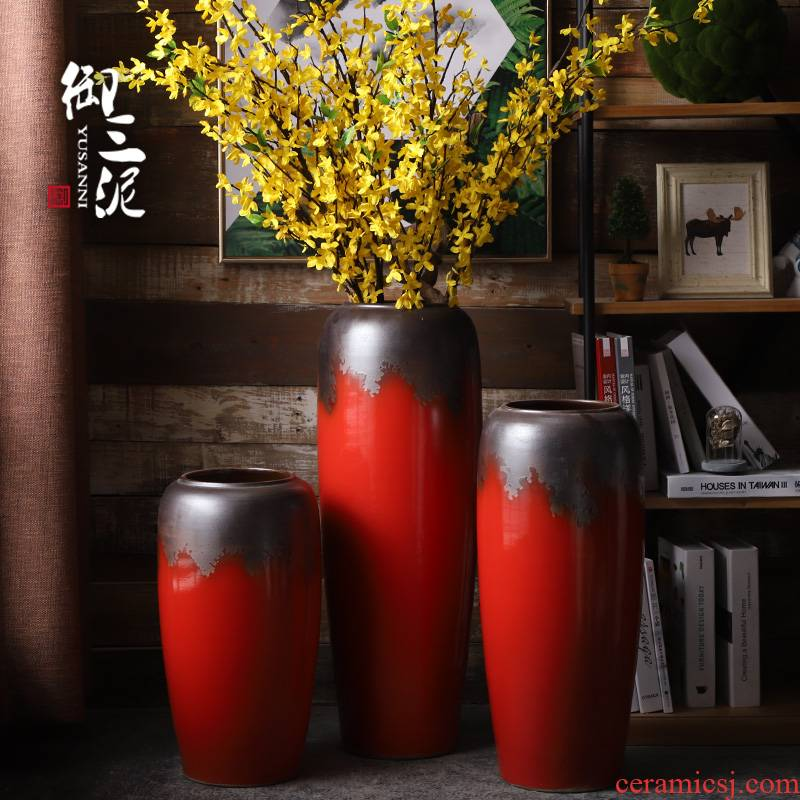 Jingdezhen European ceramic vase landing big red dried flower vase sitting room of I and contracted style flower arranging furnishing articles