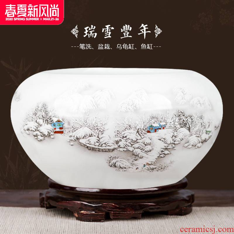 Small fish tank water lily of jingdezhen ceramics basin bowl lotus tortoise cylinder aquarium handicraft furnishing articles writing brush washer with fish pot cylinder