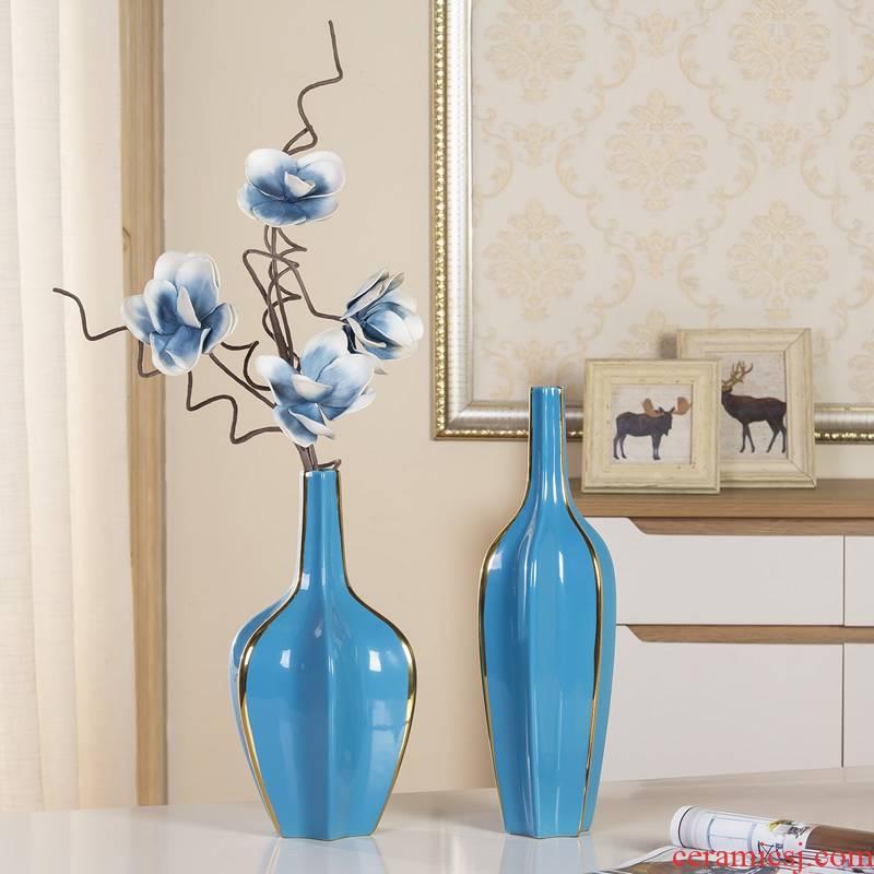 Jingdezhen ceramic blue vase Nordic furnishing articles European sitting room dry flower arranging flowers, soft outfit decoration decoration TV ark