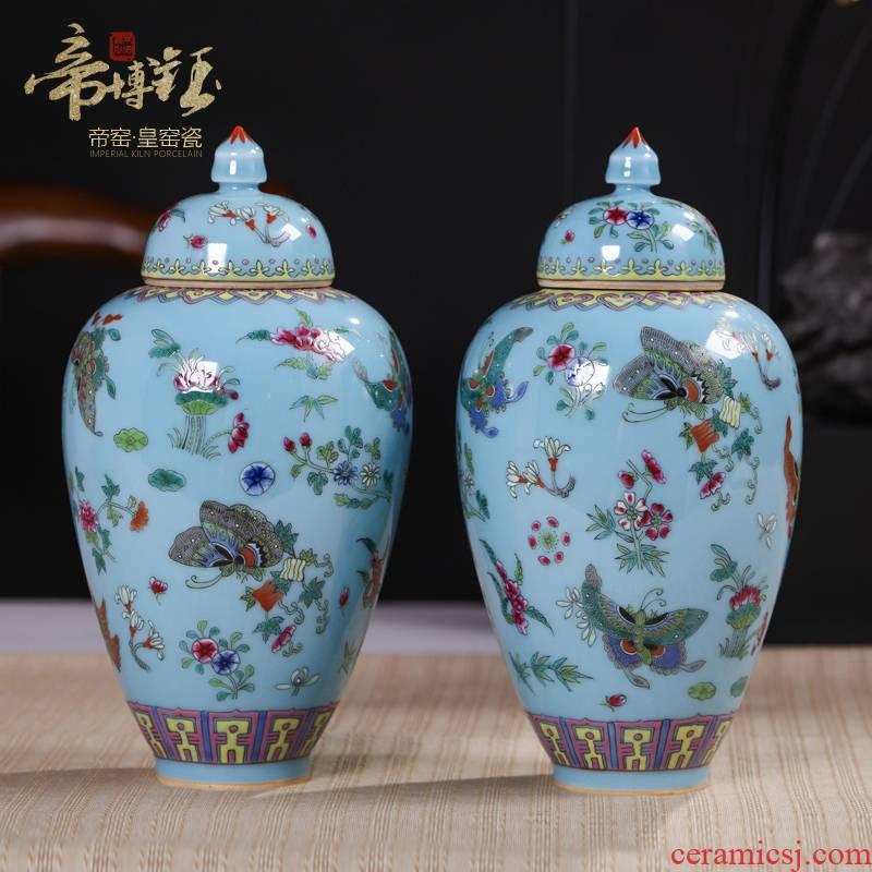 Jingdezhen ceramics antique hand - made azure glaze butterfly beauty cover pot antique porcelain art collection furnishing articles