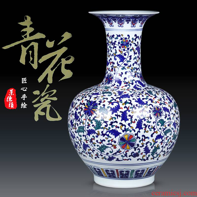 Jingdezhen blue and white ceramic antique vase colorful home furnishing articles sitting room TV ark, wine accessories arranging flowers