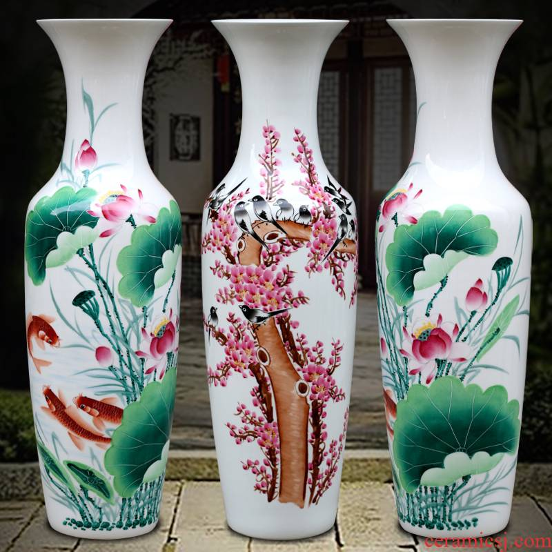 Hand draw name plum blossom put lotus 80 cm high landing big vase of porcelain of jingdezhen ceramics sitting room adornment is placed