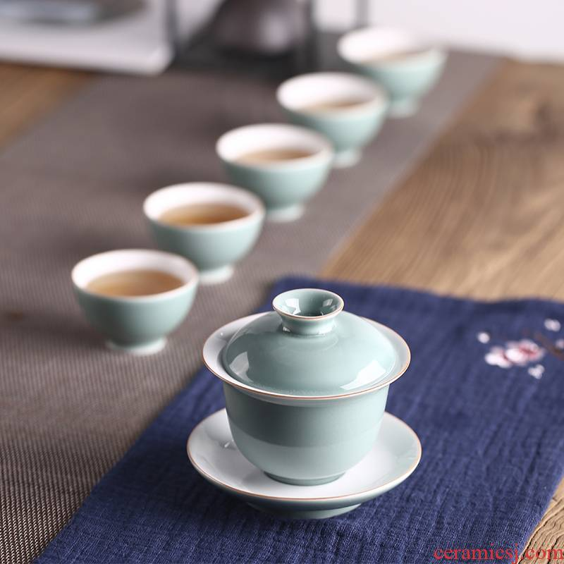 Babson ceramic glaze three only tureen ji green tea bowl of the big cup is not new one the bowl kung fu tea set