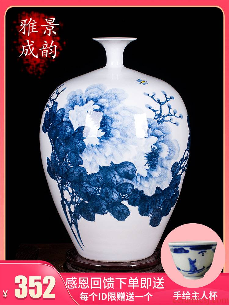 Jingdezhen blue and white peony vases, I and contracted hand - made ceramics decoration furnishing articles modern Chinese style living room