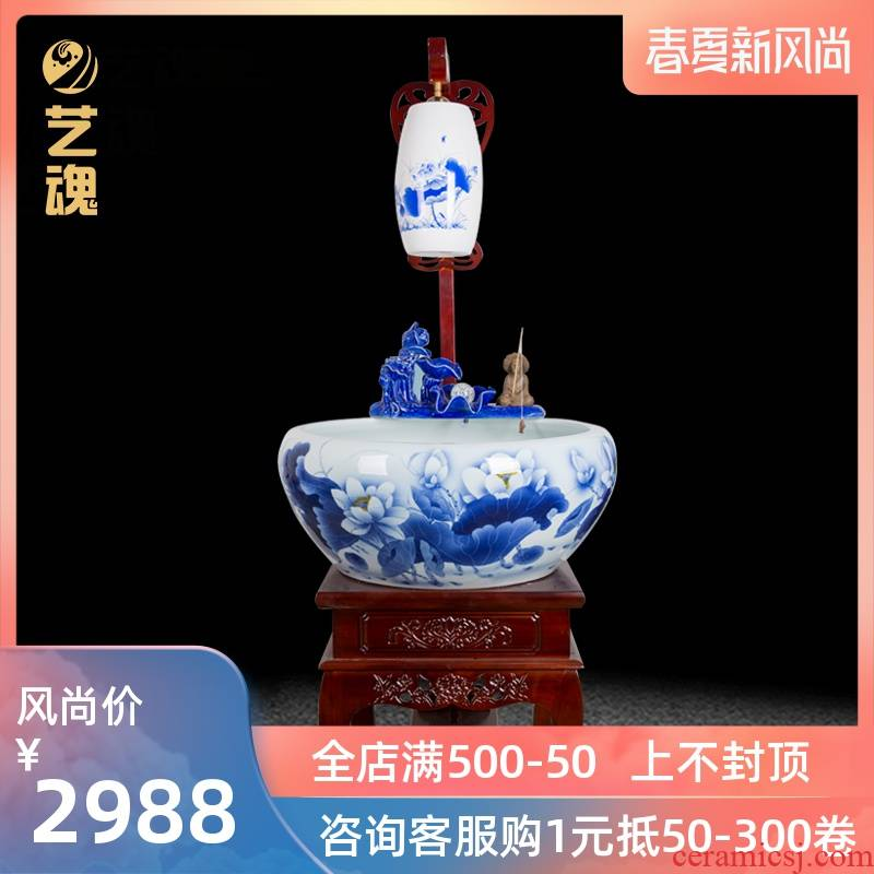 Jingdezhen porcelain extra - large ceramic aquarium fish bowl sitting room lucky feng shui and circulating water filter and oxygen tank