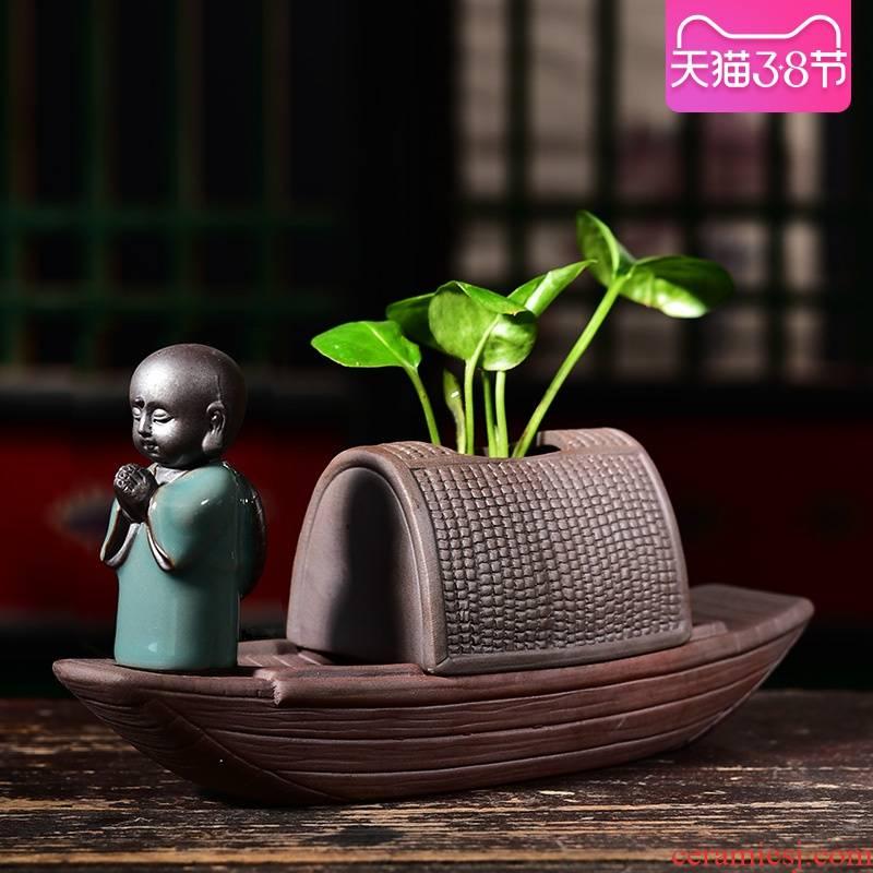 Creative hydroponic money plant pot ceramic nonporous zen copper wire arranging flowers, grass, aquatic plant container small place vessels