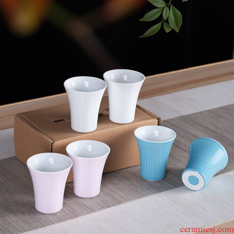 Jingdezhen ceramic small glass koubei creative a small handleless wine cup white household of Chinese style restoring ancient ways liquor cup wine suits for