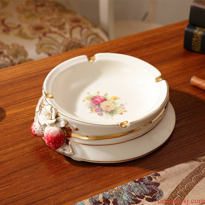 Ceramic ashtray European - style key-2 luxury high - grade red strawberry creative move smoke plate sitting room tea table ashtray decorative furnishing articles