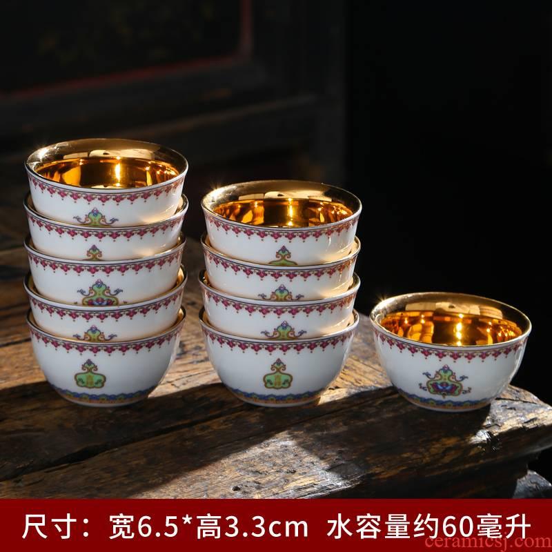 Dehua white porcelain high - grade ceramic masters cup suet jade cup single kung fu tea cup sample tea cup but small tea cups