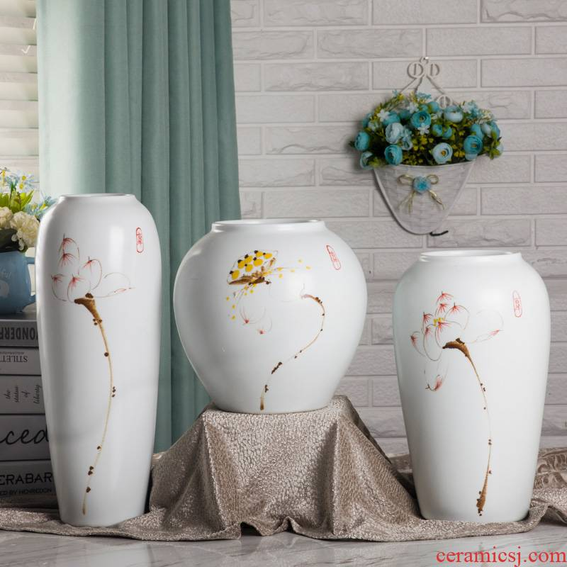 Ceramic vase three - piece creative furnishing articles contracted sitting room adornment blue flower vase TV ark, decoration decoration
