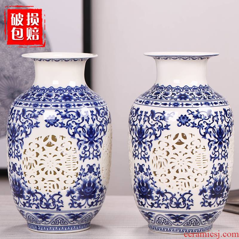 Jingdezhen ceramics hollow out of the blue and white porcelain vases, flower arranging home sitting room adornment ark, TV ark, furnishing articles