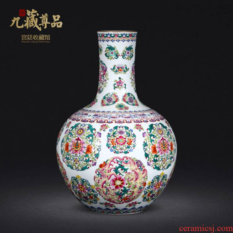 Jingdezhen ceramics antique hand - made pastel spends tree Chinese style living room office furnishing articles gift porcelain