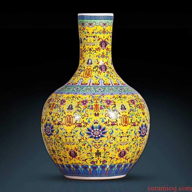 Archaize of jingdezhen ceramics colored enamel vase landing European style living room TV ark, furnishing articles home decoration