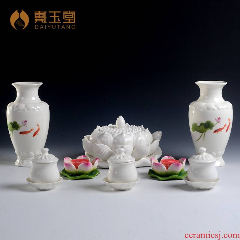 Yutang dai dehua white porcelain of a complete set of Buddhism with buddhist supplies the lotus lamp based censer holy water glass candlestick vase