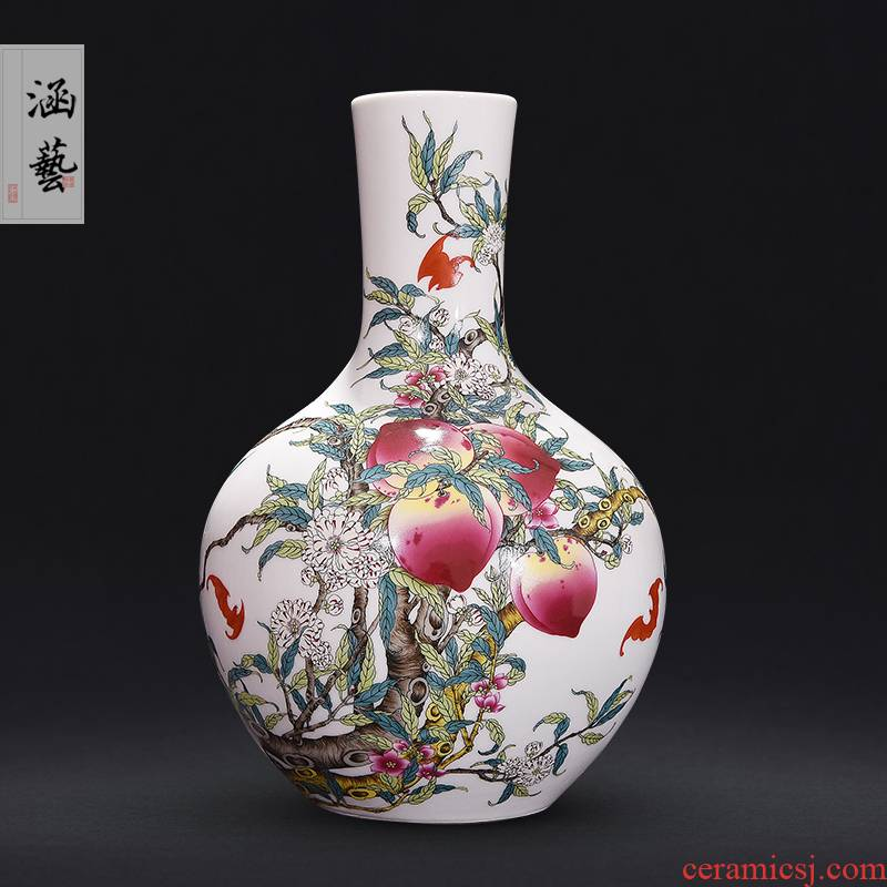 Jingdezhen ceramics archaize sitting room of famille rose porcelain vase flat peach flower arrangement of Chinese style household adornment handicraft furnishing articles