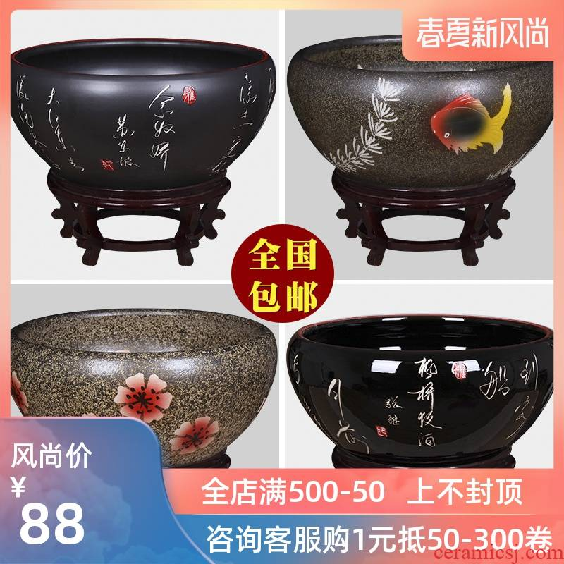 Jingdezhen ceramic aquarium turtle cylinder goldfish bowl lotus cylinder fish bowl lotus lotus cylinder furnishing articles in the living room