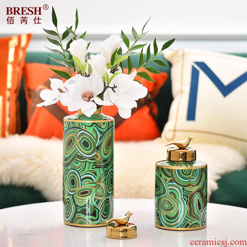 Key-2 Luxury light green ceramic vase storage multi - function furnishing articles of new Chinese style household act the role ofing is tasted between example sitting room decoration