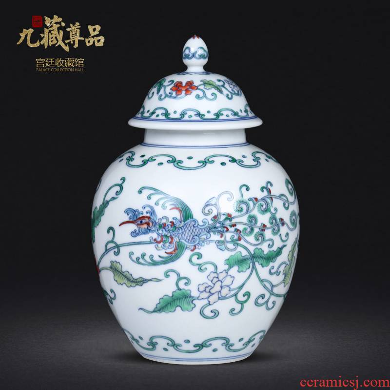 Archaize manual hand - made porcelain dou colourful feng wearing flower tea caddy fixings jingdezhen ceramics study storage tank