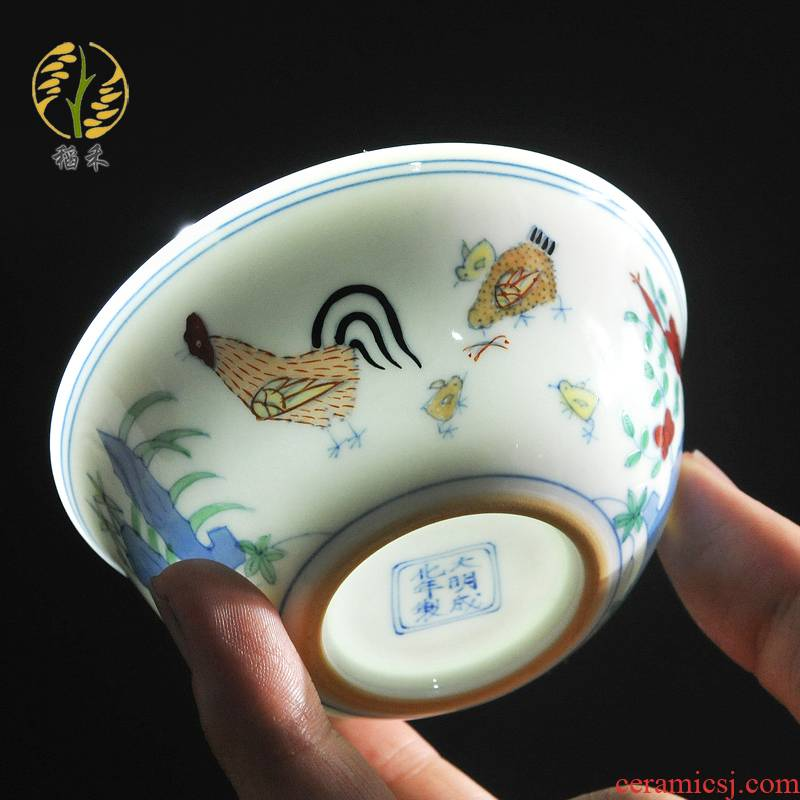 Jingdezhen ceramic imitation Ming chenghua chicken color bucket cylinder cup creative tea cup master cup sample tea cup small bowl