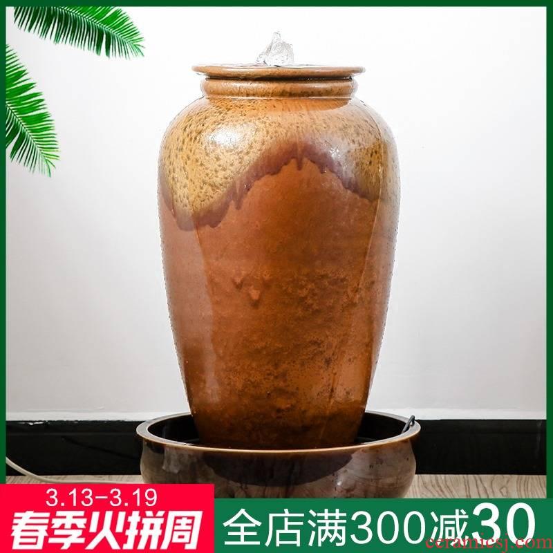 Water fountain furnishing articles sitting room adornment gift lucky feng shui wheel humidifier office of jingdezhen ceramics