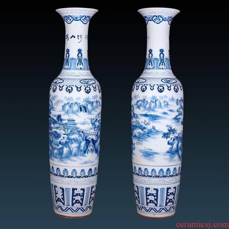 Jingdezhen ceramics hand - made landscape painting of large vase home furnishing articles housewarming gift villa hotel lobby