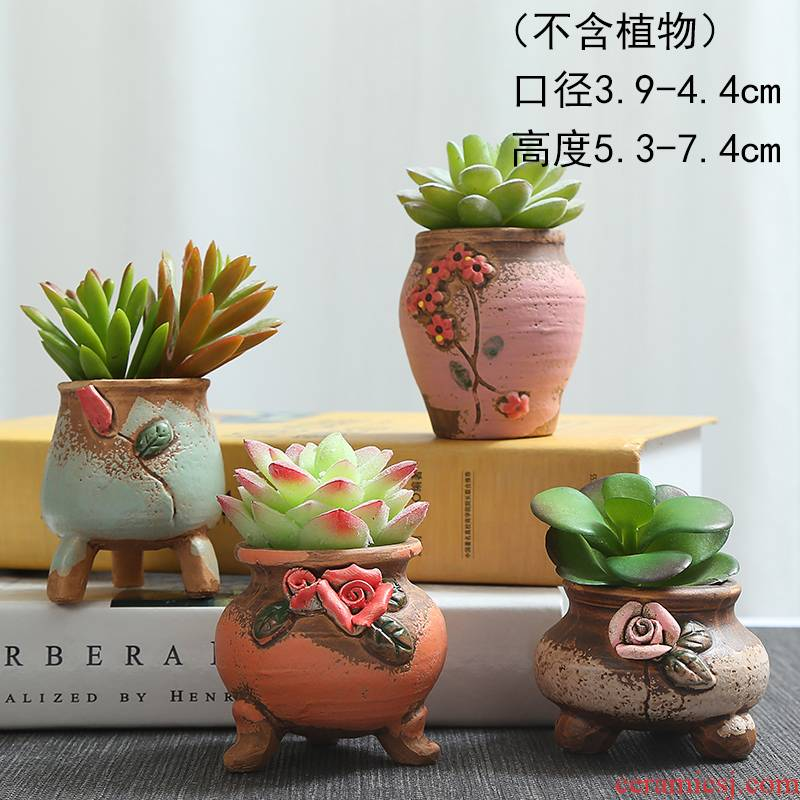 Fleshy potted plant violet arenaceous coarse pottery plastic green, the plants and colorful contracted ceramic creative small potted meat more move