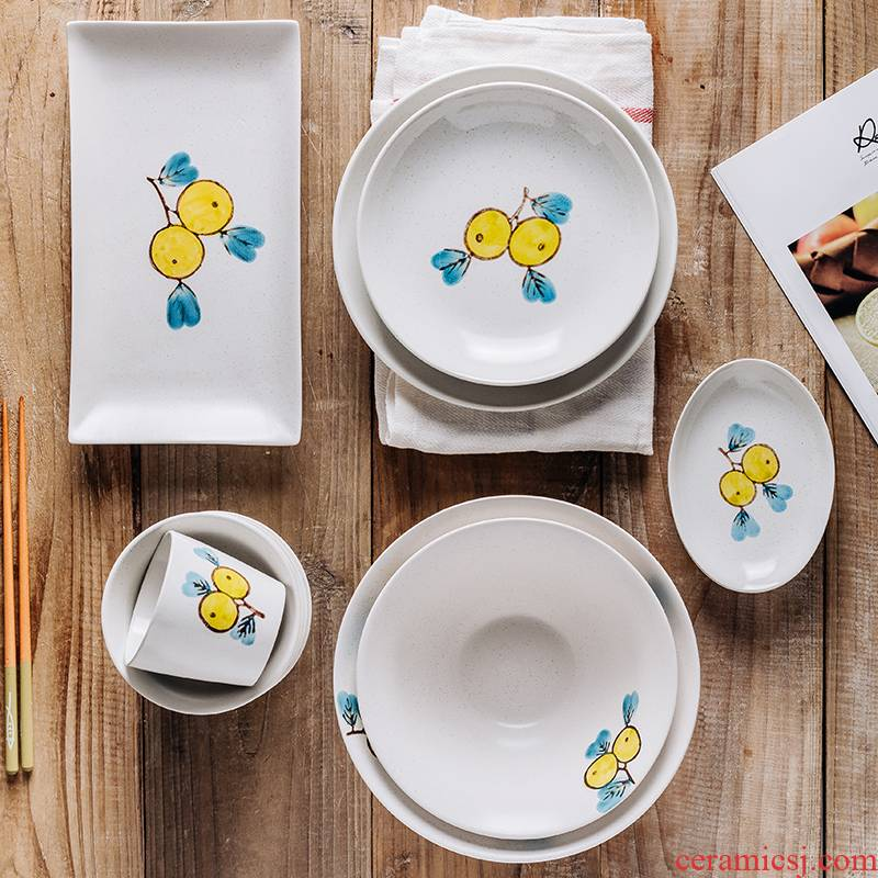 Creative loquat fruit Japanese ramen rainbow such as bowl bowl of soup bowl rainbow such use household eats 2 jobs, lovely ceramic tableware