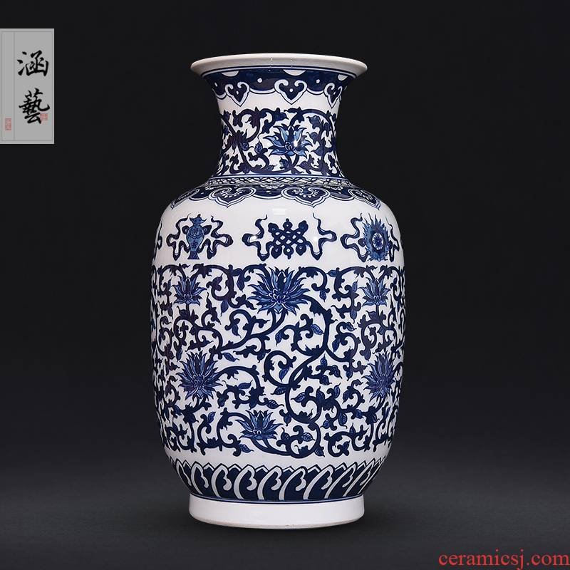 Jingdezhen ceramics hand - made antique blue and white porcelain vase sitting room place flower arrangement of new Chinese style decoration craft gift