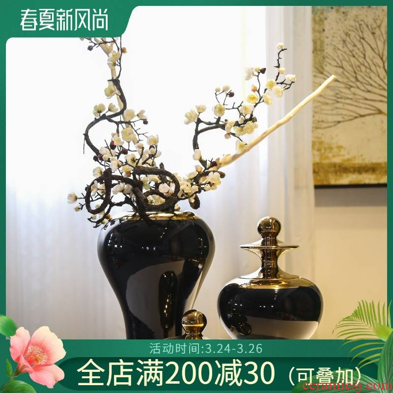 Jingdezhen ceramic vases, flower, flower implement new Chinese style light model simulation flower restaurant hotel decoration decoration key-2 luxury
