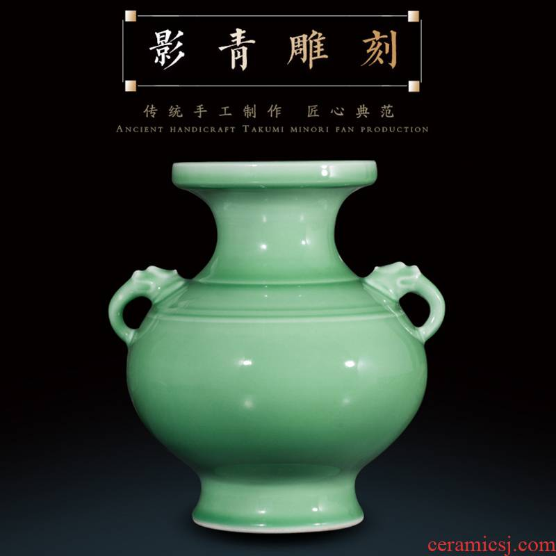 Jingdezhen ceramics by hand shadow blue glaze ears vases, flower arranging antique Chinese wine sitting room adornment is placed