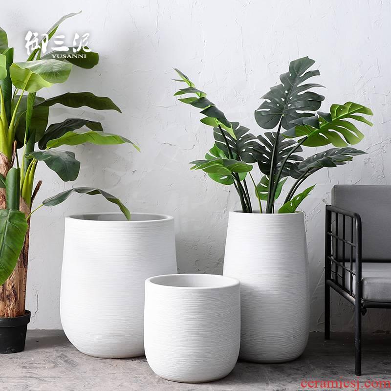 Tank large - scale ceramic vase flowerpot flower bed Nordic contracted landing landscape garden villa green plant flower arranging furnishing articles