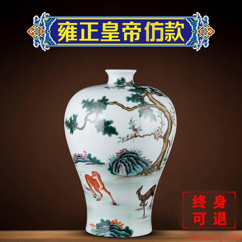 Better sealed up manually name plum bottle vase jingdezhen ceramic sitting room hand - made furnishing articles archaize of new Chinese style decoration decoration