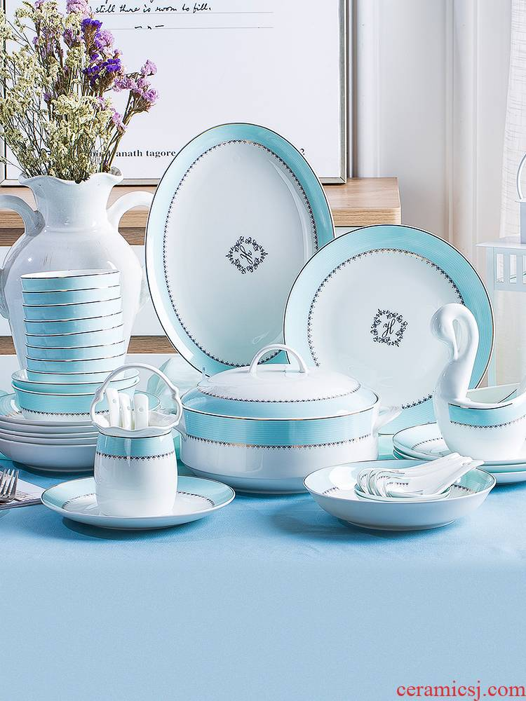 The dishes suit household ceramic bowl Korean ipads bowls dish bowl chopsticks Chinese combination of jingdezhen plate suit