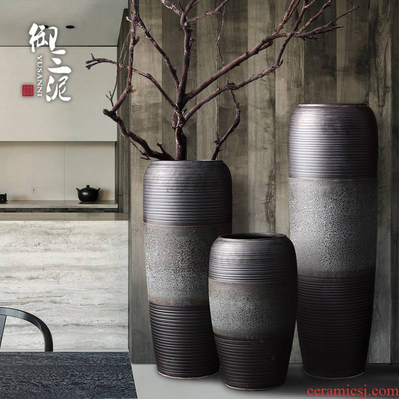 New Chinese style restoring ancient ways of jingdezhen ceramic vase hotel flower arranging furnishing articles sitting room ground in the modern pottery large flower pot