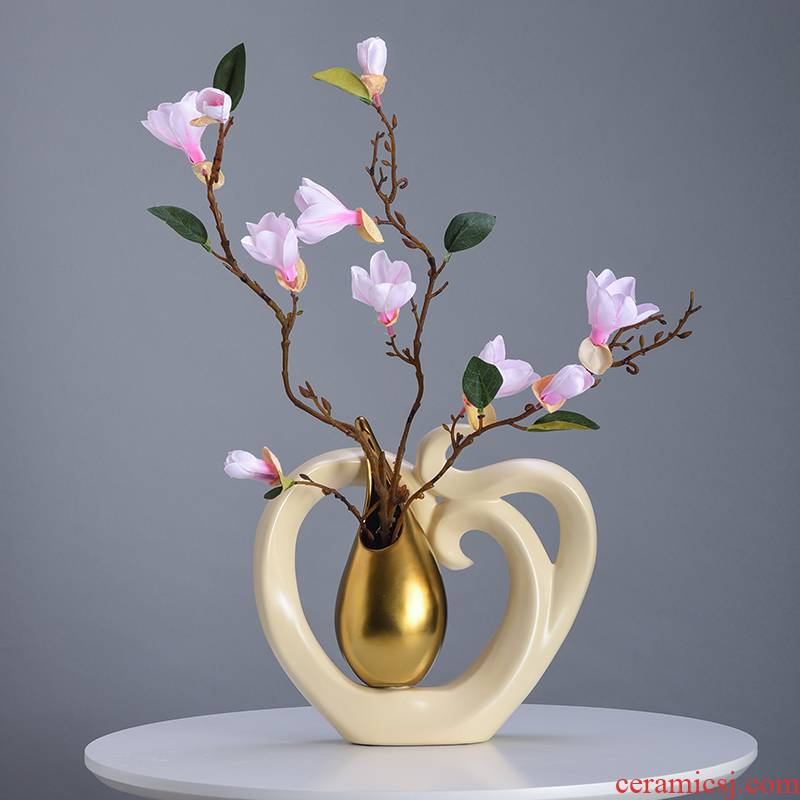 European style living room dry flower arranging flowers simulation flower vase furnishing articles I household ceramics table vase decoration decoration