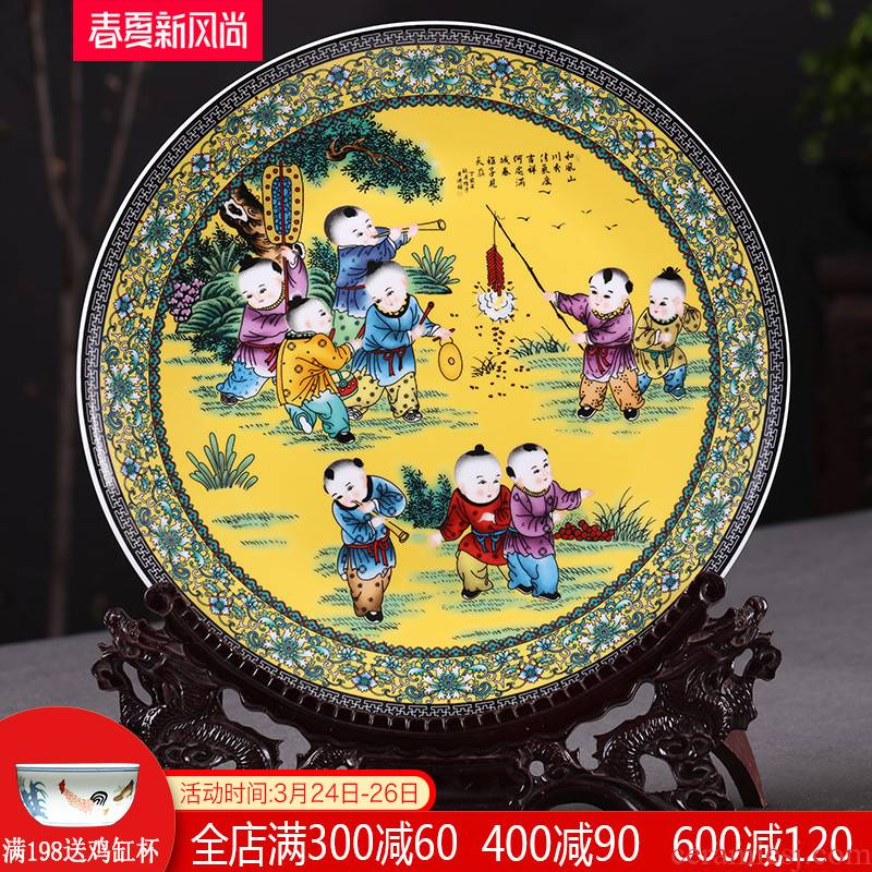 Jingdezhen ceramics 35 cm innocent tong qu hang dish decorative plate household adornment handicraft decoration parts