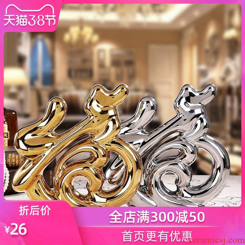 Modern ceramic arts and crafts creative Jin Fu furnishing articles wedding gift for the sitting room TV ark, small ornament household act the role ofing is tasted