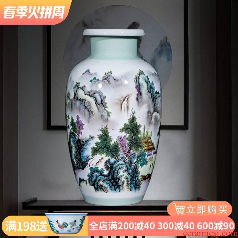 Jingdezhen ceramics vase furnishing articles Chinese style is I sitting room flower arranging household contracted TV ark adornment ornament