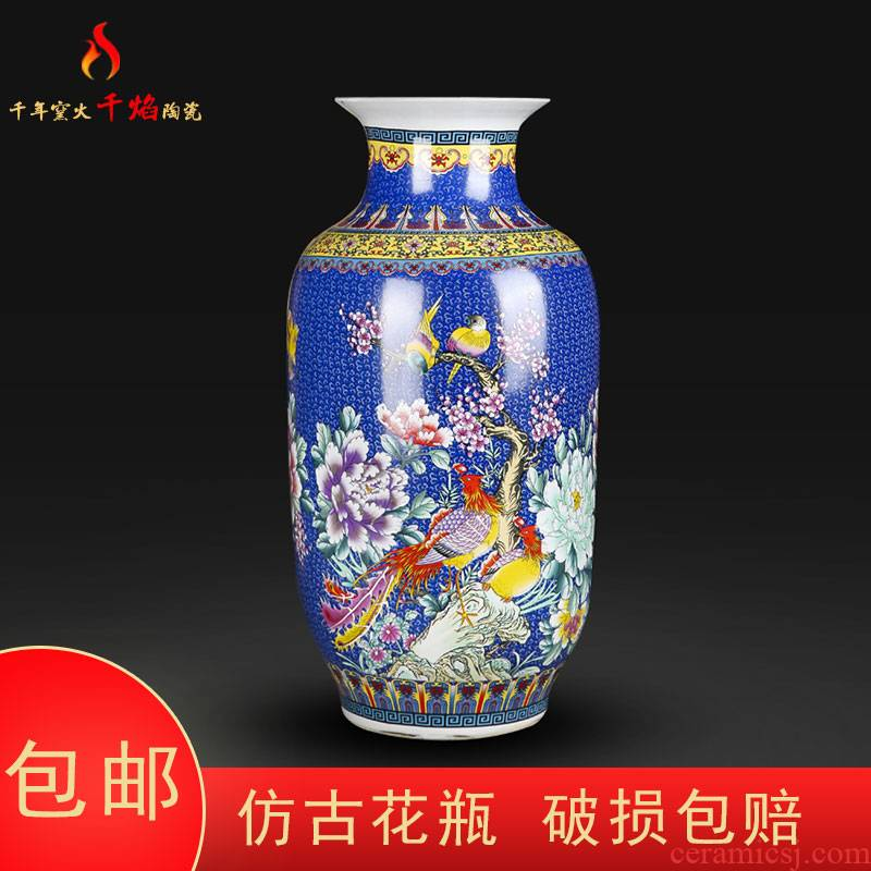 Jingdezhen porcelain enamel see colour blue bird mattress in the sitting room of large vase flower adornment handicraft furnishing articles
