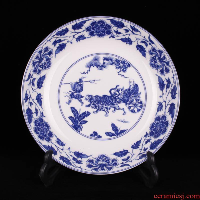 Jingdezhen porcelain qianlong blue - and - white guiguzi down the hill to admire the new Chinese style originality, the counter desktop decoration plate