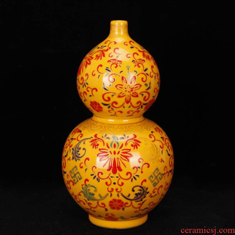 Jingdezhen imitation enamel see colour gourd vases, antique reproduction of clear acting palace restoring ancient ways antiques flea household adornment furnishing articles