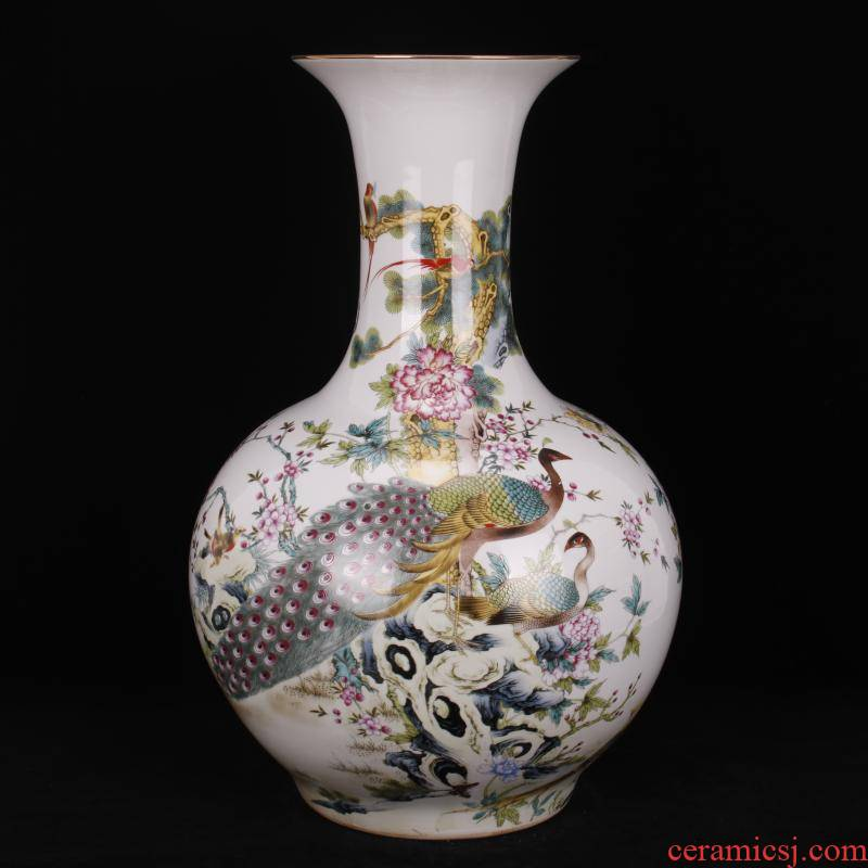 Jingdezhen pastel prosperous peacock TuShang bottles of Chinese domestic outfit company store hotel archaize floor big vase